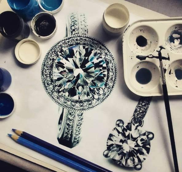 نقاشی های زیبا از الماس و جواهرات توسط هلنا روچا